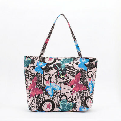 NEW Cotton Tote bag - Zip Beach bag - Knitting craft bag- Market bag- Butterfly
