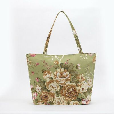 NEW Vintage Shabby Chic Green rose cotton Shopper Tote Beach Bag, Knitting Bag
