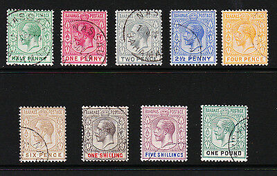 Bahamas 1912-19 Complete Set Mult Crown Ca Wmk Sg 81-89 Fine Used.