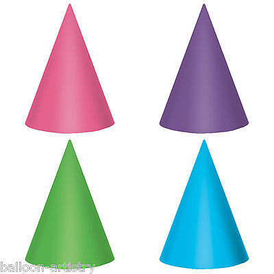 12 Joyful Pink & Teal Happy Birthday Party Pink Purple Shimmer Paper Cone Hats