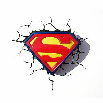 Superman Logo 3D Led Deco Wall Light & Crack Sticker New