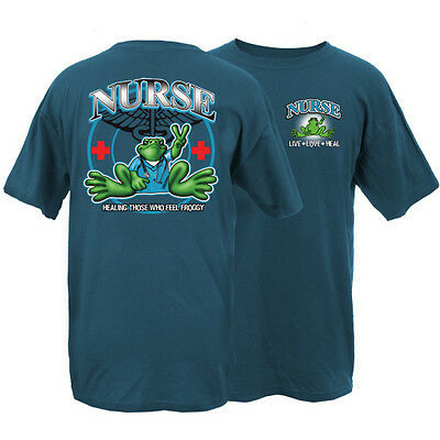 Peace Frogs Frog Nurse Adult Large T-Shirt
