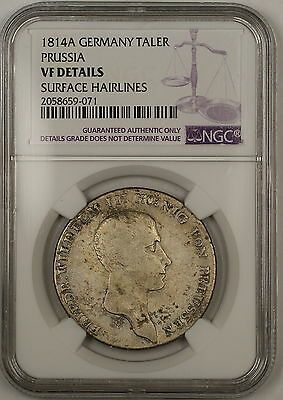1814A Prussia Germany Silver Taler Coin DAV-2590 NGC VF Details Surface Hairline