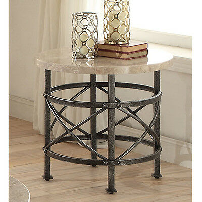 Nestor Living Room Home End Side Stand Table Round Marble Top Antique Black Base