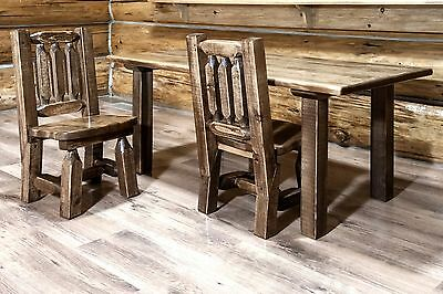 wooden kids table chairs set amish made rustic toddler table and two chairs - Toddler Wooden Table And Chairs