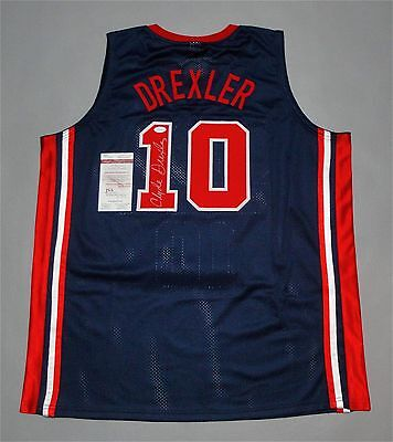 CLYDE DREXLER AUTOGRAPHED USA JERSEY with JSA WITNESSED COA #WP87987