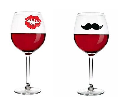 Silicone Drink Markers Charms KISS Lips Dapper 'Staches Silicone Mustache 6pcs