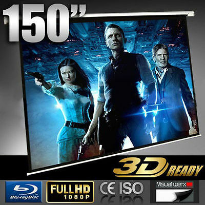 """150"""" Electric Motorised projector screen - 3D ready - FULL HD - Remote control"""