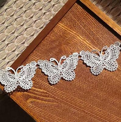 Charm White Butterfly Lace Edge Trim Ribbon Applique Sewing Wedding Crafts New F