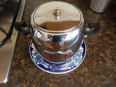Art Deco Chrome and Red Enamelled Tea Caddy Beautiful