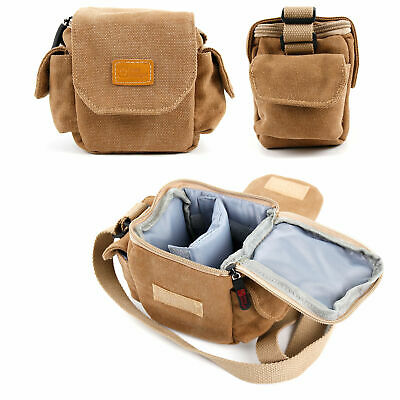 Light Brown Small Canvas Carry Bag for Olympus PEN E-PL6 Compact System Camera