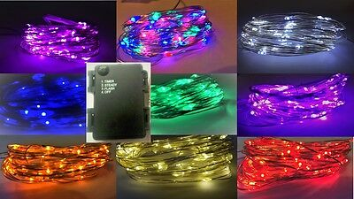 30/60 LED Battery String Light + ON + FLASH + Daily Timer modes in 8 colours!