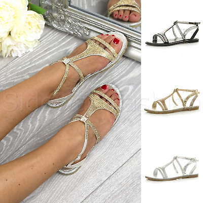 a718e2f448cb Womens ladies flat embellished diamante sparkly strappy t-bar sandals shoes  size