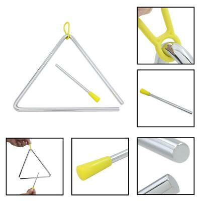 "6""/7""/8"" Metal Musical Triangle Beater Percussion Instrument Silver Music Toy"