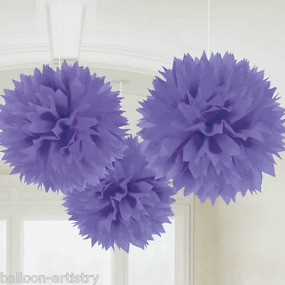 3 Classic Purple Birthday Party Hanging Fluffy Tissue Paper Ball Decorations
