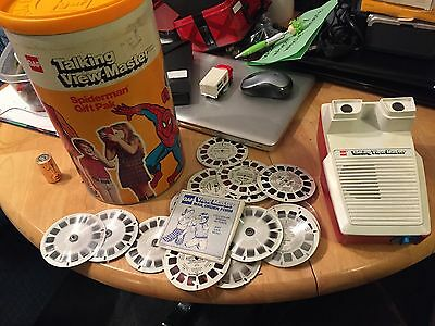 SUPERHERO Talking VIEW MASTER With Sound Viewer & Reels in GAF Canister Works