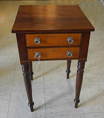 American Sheraton tiger maple and mahogany work stand c1830