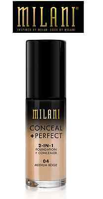 NEW !!  MILANI Conceal + Perfect 2 In 1 Foundation + Concealer # 4 Medium Beige