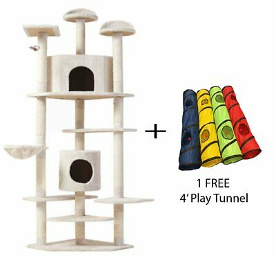 7' Cat Tree Multi-Level Pet House Kitty Condo Scratching Post + FREE Play Tunnel
