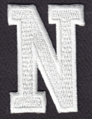 """LETTERS - Iron On Embroidered Applique Patch WHITE BLOCK LETTER /""""L/"""" 1 7//8/"""""""