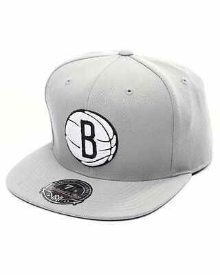 Mitchell & Ness Brooklyn Nets Grey BasketBall High Crown Fitted Hat