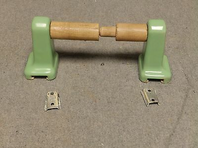 Vintage Jadeite Green Porcelain Toilet Paper Holder Old Bathroom Fixture 433-16