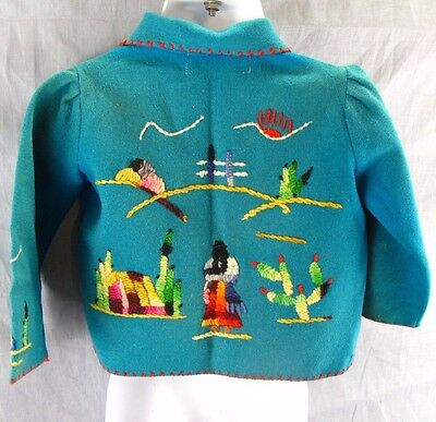 Vintage Guillermo Guevara Baby Toddler Shirt 100% Wool Made in Mexico Embroidery