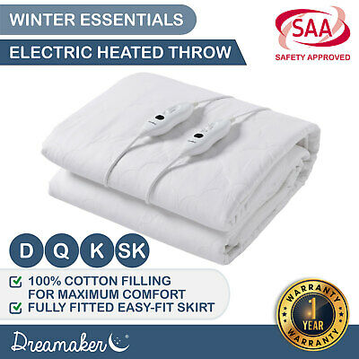 120GSM DIAMOND Quilted ELECTRIC BLANKET Heated Underblanket Fully Fitted