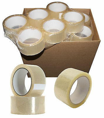 CLEAR PACKING TAPE - 48mm x 66m STRONG LARGE ROLLS OF PARCEL TAPE - Sellotape