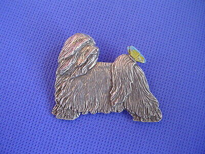 Tibetan Terrier with Butterfly pin #71B Pewter dog jewelry by Cindy A. Conter