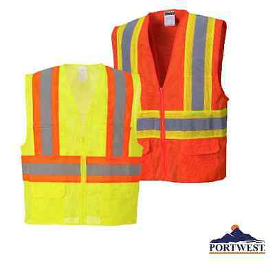High Visibility Vest Safety Contrast Hi Vis Class 2 Reflective, Portwest US371