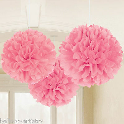 3 Classic Light Pink Birthday Party Hanging Fluffy Tissue Paper Ball Decorations