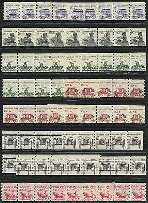(40) DIFF STRIPS WITH PLATE NOs. ON TOP COLLECTION - RARE - 100% NUMBERS WLM525