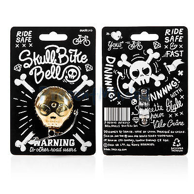 Skull Bike Bell- Brass Bicycle Bell with Attitude by Suck UK | Bike Bell Gift