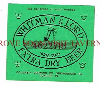 Unused 1960s Whitman & Lord Shamokin 12oz V2 Beer Label Tavern Trove PA