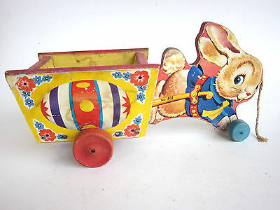 Vintage 1954 Fisher Price  BUNNY WAGON cart Easter Basket rabbit Pull Toy #401