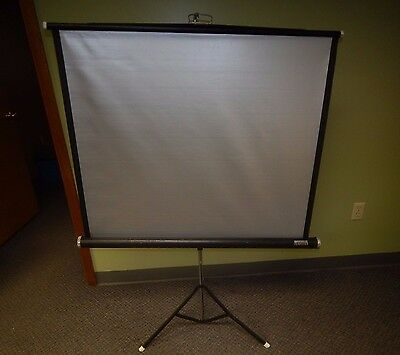 "Vintage Montgomery Warm Silver Projector Screen Movie Film 40"" X 40"" w/ Stand"