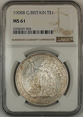 1908B Great Britain Silver Trade Dollar $1 Coin NGC MS-61