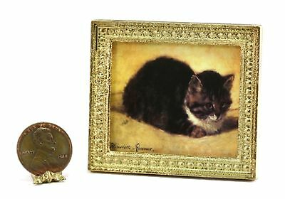 Dollhouse Miniature Gold Framed Picture of a Famous Roemer Cat Painting (A)