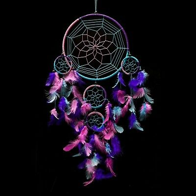 "Dream Catcher ~ Handmade Traditional Aqua Blue Pink & Purple 8.5"" Diameter & ..."