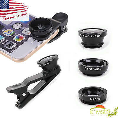 3 in 1 Clip On Camera Lens Kit Fisheye + Wide Angle + Macro for Cell Phone USA