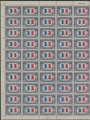 "#915 Var. ""france"" Sheet/50 Reverse Printing Major Error With Pf Cert Wlm548"