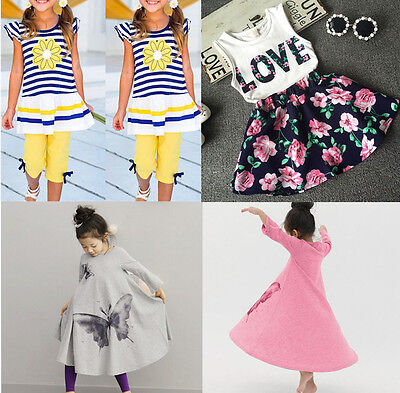 UK Stock Baby Toddler Kids Outfits Sets Children Dress Girls Summer Clothes 2-9Y