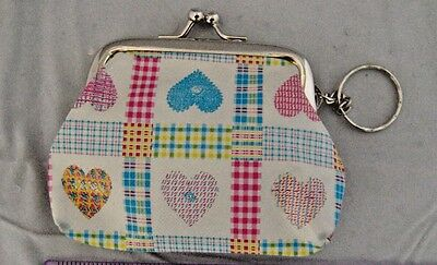 Heart coin change purse gingham vinyl kiss clasp pink blue key ring
