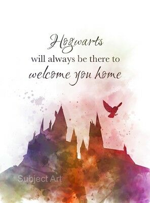 ART PRINT Hogwarts Quote, Harry Potter illustration, Home Decor, Wall Art