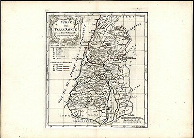 Judea or Holy Land Israel 1778 antique engraved hand color map