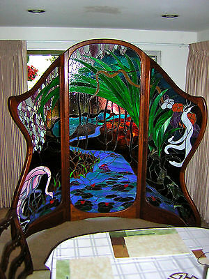Stained Glass Dressing Screen ~ Artist Signed ~ Garden of Eden ~ One Of A Kind