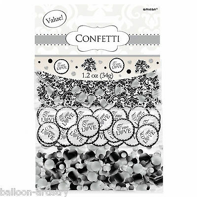 Black Scroll Wedding Engagement Party Confetti Table Sprinkles Triple Pack