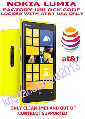 Nokia Lumia 920 Rm-821 Unlock Code For Lumia 920 Only At&t Usa Out Of Contract
