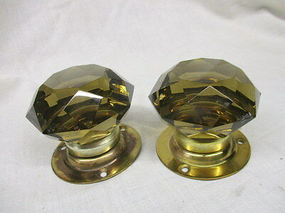 Vintage Cut Glass Door Knobs Handles Brass Plate Vintage Old Orange Crystal Pair